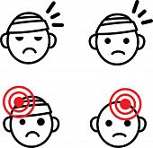 Headache Icon Set. Medical Vector Emoji Set Of Sad Bandaged Heads With Health Issue, Head Ache, Migr poster