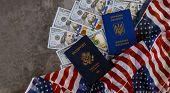 American Passport And Ukrainian Biometric Passport On Us Dollars On United States Of America Nationa poster