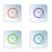 Color Time Is Money Icon Isolated On White Background. Money Is Time. Effective Time Management. Con poster