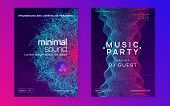 Trance Event. Geometric Concert Banner Set. Dynamic Gradient Shape And Line. Neon Trance Event Flyer poster