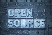 Open Source Phrase Made From Metallic Letterpress Blocks On The Pc Board Background poster