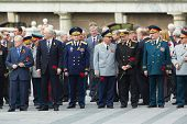 MOSCOW - MAY 8: Russian Federation State Duma deputies and veterans at laying of wreaths at tomb of