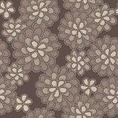 pic of drow  - Vector lace floral pattern with notched brown flowers - JPG