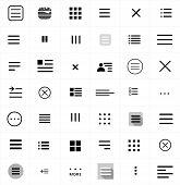 Set Of Menu Icons. Flat Web Menu Icons Signs Collection. Set Of Black Navigation Menu Hamburger Line poster