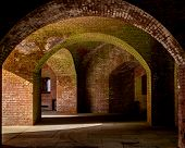 The Wakks And Corridors Of Fort Point In San Francisco, California, Usa, Featuring Old Grungy Brick  poster