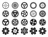 Cogwheel Flat Machine Gear Icon. Set Of Black Machine Gear On A White Background: Wheel Cogwheel Vec poster