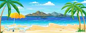 Sea Beach Summer Landscape. Ocean Coast Beautiful Panorama With Water Sand And Palms, Vacation Trave poster