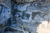 Aerial Top View Of Crushing Machinery, Conveying Crushed Granite Gravel Stone In Quarry Open Pit Min poster