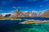 Aerial View Of Hamnoy Village on Lofoten Islands,  Norway. The Typical Norwegian fishing village on  poster
