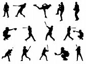 picture of swinger  - Black and White silhouette of baseball players in action - JPG