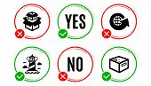 Packing Boxes, Lighthouse And World Globe Icons Simple Set. Yes No Check Box. Office Box Sign. Deliv poster