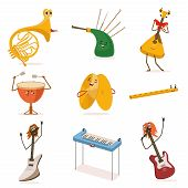 Funny Musical Instruments Cartoon Characters With Funny Faces Set, Guitar, Synthesizer, Flute, Bagpi poster