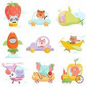 Cute Baby Animals In Transport Set, Raccoon, Tiger, Octopus, Koala Bear, Fox, Dog, Hippo Elephant, P poster