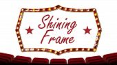 Retro Cinema Banner . Light Bulbs. Red Theater Curtain. Silk Textile. Shining Retro Light Banner. Re poster