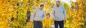 Banner, Long Format Senior Couple With Baby Grandson In The Autumn Park. Great-grandmother, Great-gr poster