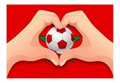 Morocco Flag And Hand Heart Shape. National Football Background. Soccer Ball With Flag Of Morocco Ve poster
