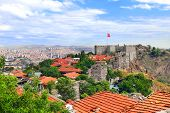 Aerial view of the capital city Ankara and Hisar Castle, Turkey. View from Hisar Castle hill poster