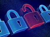Data Security And Privacy Concept: Opened Padlock On Digital Screen Background. Visualization Of Per poster