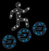 Glowing Mesh Man Climb Dash Coins With Glitter Effect. Abstract Illuminated Model Of Man Climb Dash  poster