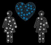 Bright Mesh Lesbi Love Pair With Glare Effect. Abstract Illuminated Model Of Lesbi Love Pair Icon. S poster