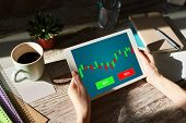Online Trading Currency Forex Stock Market Concept On Screen With Economic Graphs Candle Chart And S poster