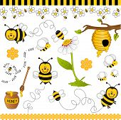 stock photo of bee cartoon  - Image representing a bee digital collage - JPG