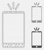 Mesh Mobile Torch Model With Triangle Mosaic Icon. Wire Frame Polygonal Network Of Mobile Torch. Vec poster