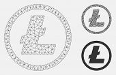 Mesh Litecoin Coin Model With Triangle Mosaic Icon. Wire Carcass Triangular Mesh Of Litecoin Coin. V poster