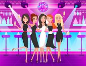 Bride Wearing Bridal Dress And Veil With Bridesmaids Vector. Nightclub Bachelorette Party With Frien poster