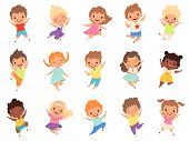Jumping Kids. Happy Funny Children Playing And Jumping In Different Action Poses Education Little Te poster