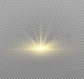 Yellow Glowing Light Burst Explosion On Transparent Background. Vector Illustration Light Effect Dec poster
