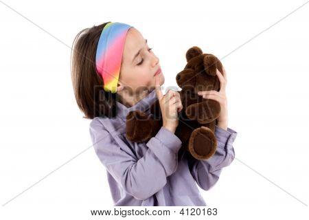 Pretty Girl Scolding Teddy Bear