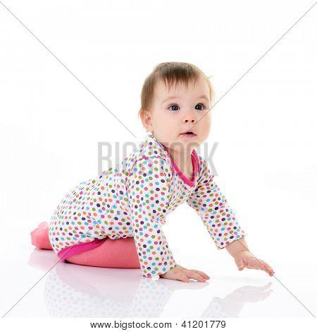 full legth portrait of cute happy smiling sitting  little girl toddler, 10 month, studio over white