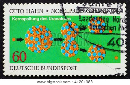 Postage Stamp Germany 1979 Otto Hahn's Diagram Of The Splitting
