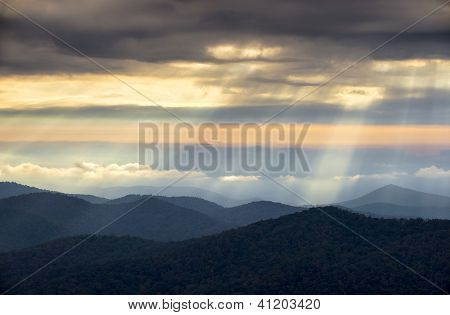 Crepuscular Light Rays And Sunbeams From Blue Ridge Parkway Nc