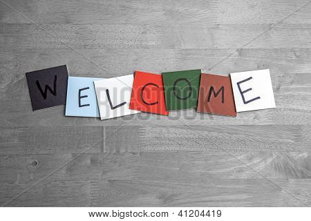 'Welcome' Written On Square Color Tiles - Colorful - Concept For Business / Education / Healthcare /