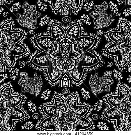 Seamless paisley pattern. Hand drawn background