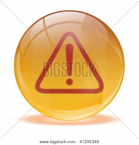 3D Glass Sphere Warning Icon