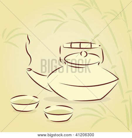 Vector teapot and two cups over bamboo background
