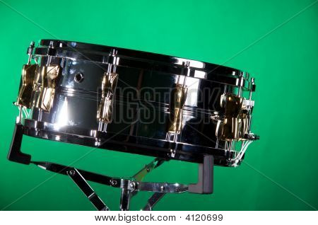 Chrome Gold Snare Drum Isolated