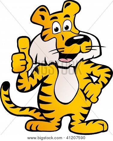 Hand-drawn Vector Illustration Of An Happy And Proud Siberian Tiger  Giving Thumb Up