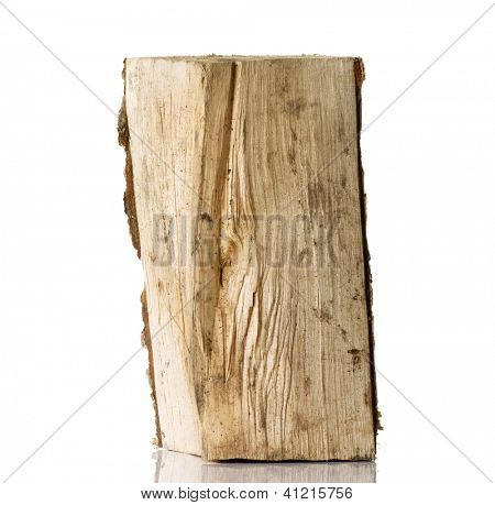 Cut log fire wood from birch-tree. Isolated on white.