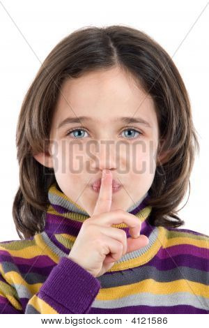 Adorable Girl Ordering Silence