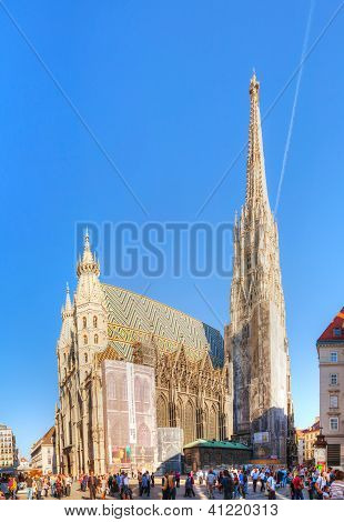 St. Stephen's Cathedral In Vienna, Austria Surrounded By Tourists