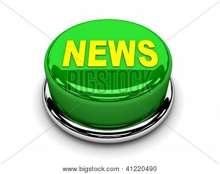 3d button green news push