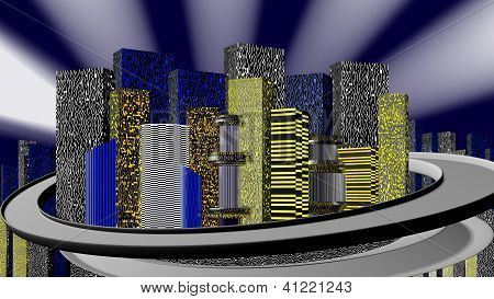 City At Night, 3D.