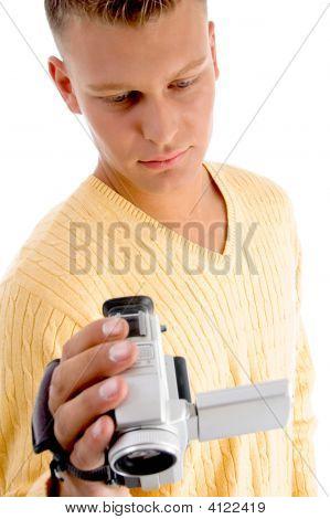 Male Operating Video Camera