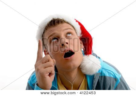 Pointing Male With Christmas Hat