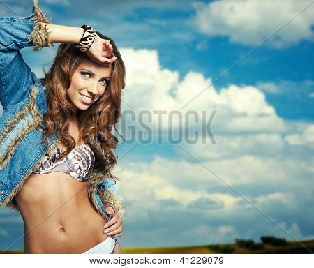 Portrait of a beautiful woman in bikini