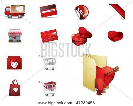 Valentines day Shopping icons set